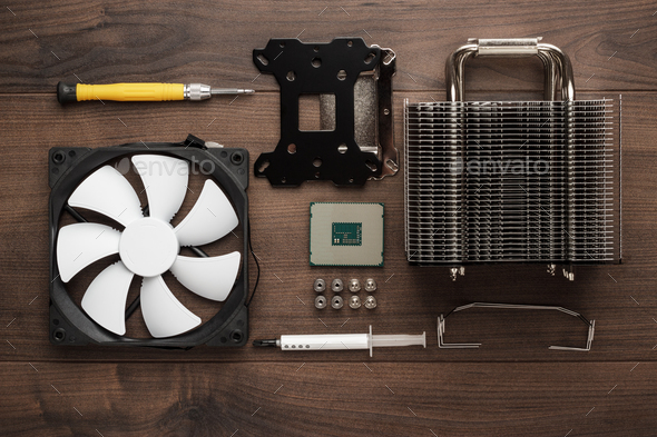 Cpu And Other Computer Parts On The Table  - Stock Photo - Images