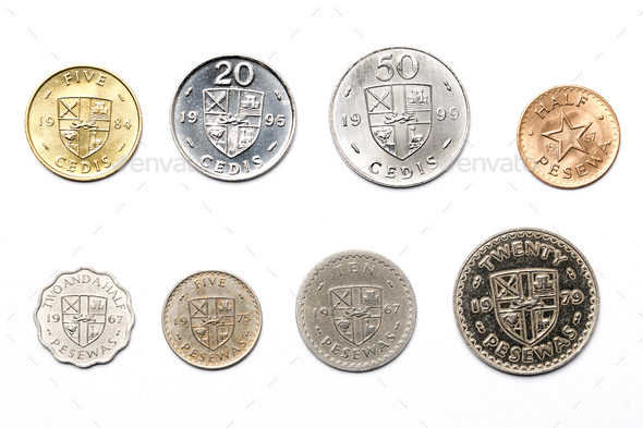 Ghanaian coins on a white background  - Stock Photo - Images