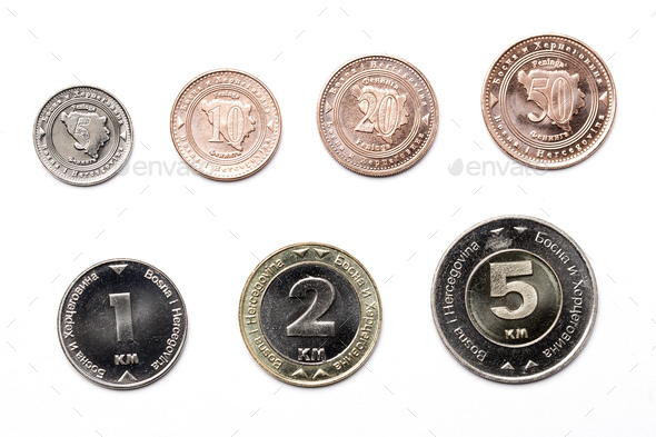 Coins from Bosnia and Herzegovina on a white background  - Stock Photo - Images