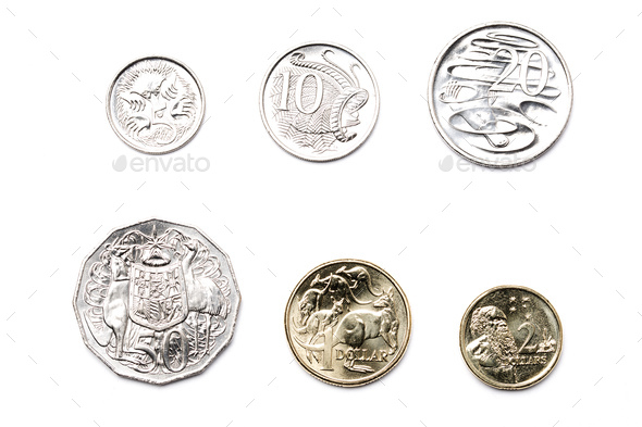 Australian coins on a white background  - Stock Photo - Images