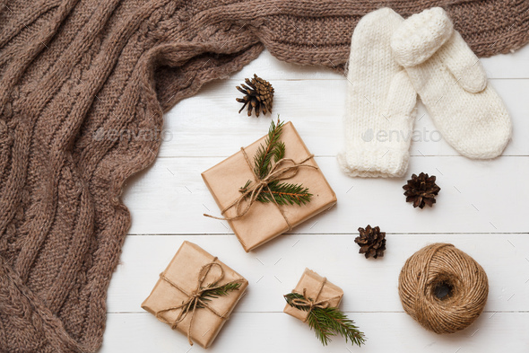 Christmas and new year concept. Different decoration. Flat lay, top view - Stock Photo - Images