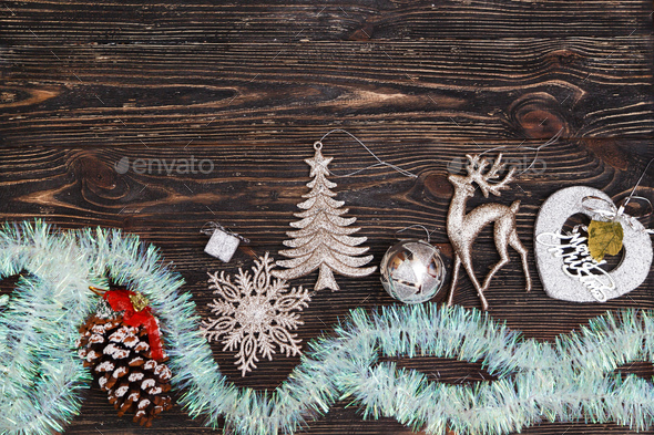 Christmas decoration on dark wooden board. Top view - Stock Photo - Images