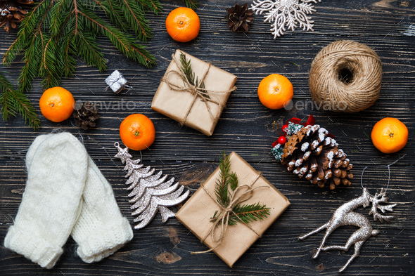 Gift boxes and winter Christmas decorations - Stock Photo - Images