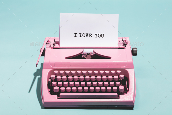 """I love you"" writing and pink typewriter. - Stock Photo - Images"