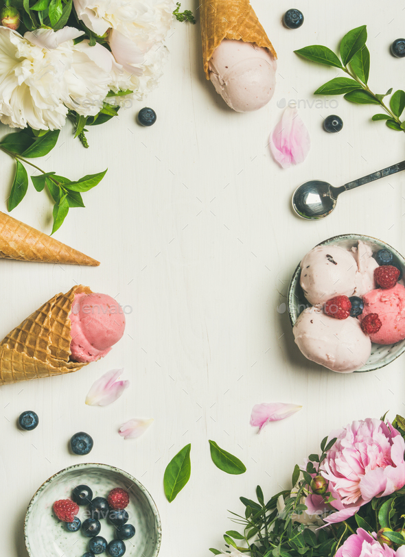 Flat-lay of ice cream scoops and peonies, vertical composition - Stock Photo - Images