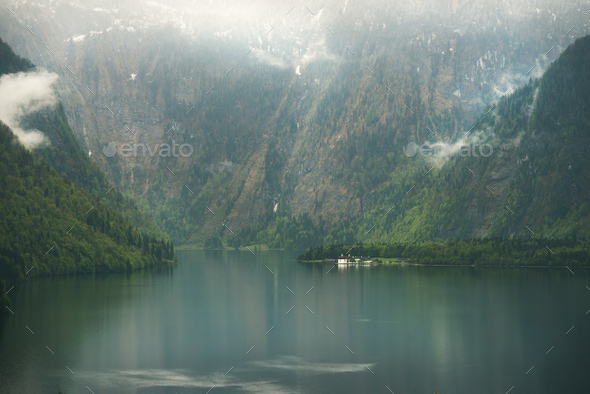 View over misty Lake Konigssee in Bavaria - Stock Photo - Images
