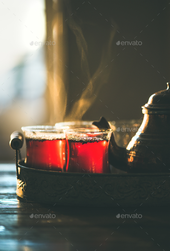 Freshly brewed traditional black tea in turkish tukip glasses - Stock Photo - Images