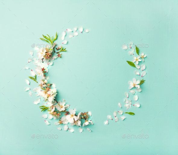Flat-lay of white almond blossom flowers wreath - Stock Photo - Images