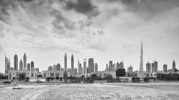 Panoramic picture of Dubai skyline, UAE. - Stock Photo - Images