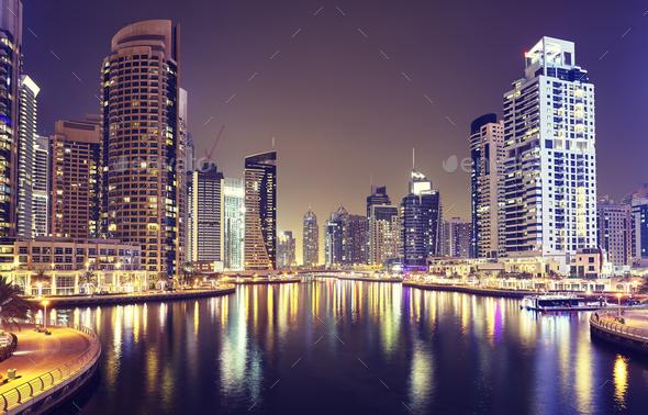 Dubai Marina at night, United Arab Emirates - Stock Photo - Images