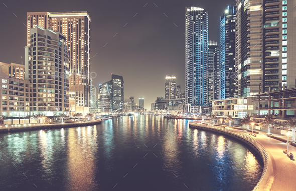 Dubai Marina at night, United Arab Emirates. - Stock Photo - Images