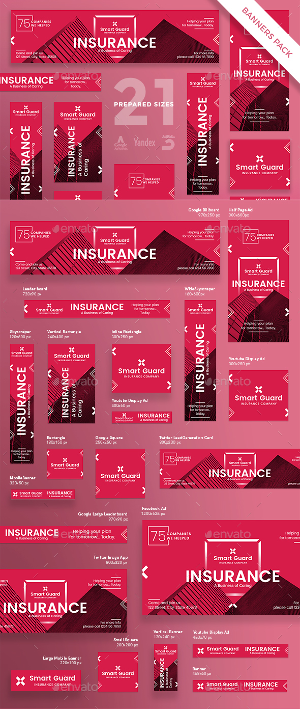 Insurance Company Banner Pack - Banners & Ads Web Elements