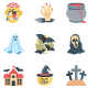 Halloween Color Illustration Isolated Vector Icons Pack
