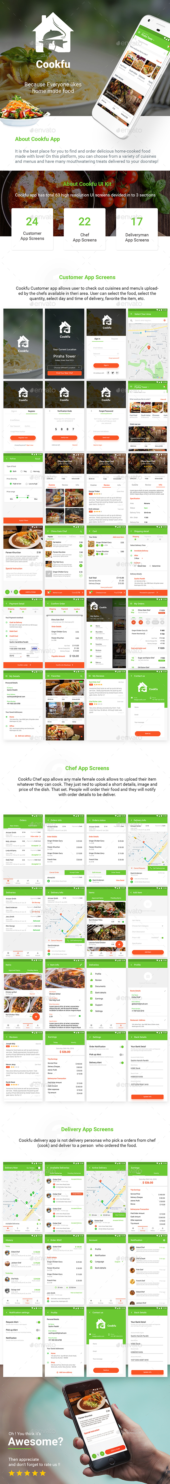 Food Ordering & Delivering App UI kit for Android & iOS | Cookfu - User Interfaces Web Elements