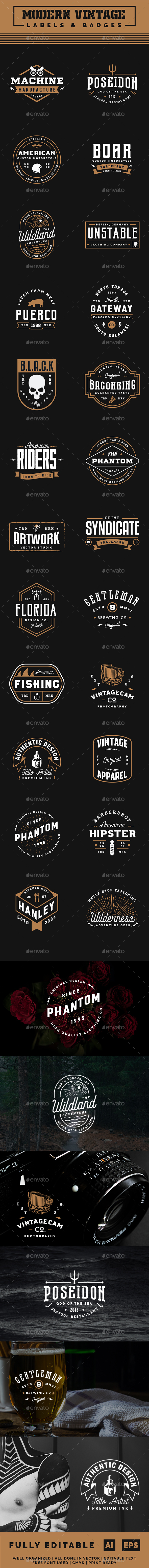 Modern Vintage Label and Badges Vol 3 - Badges & Stickers Web Elements