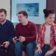 Company of the Friends Enjoy Relaxing on Couch Playing Videogames and Having Fun in Modern Flat - VideoHive Item for Sale