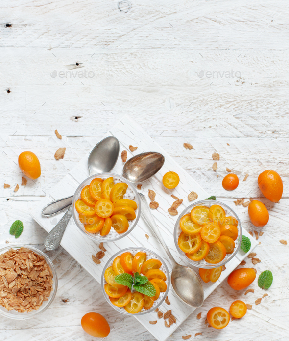 Chia pudding parfait with kumquat - Stock Photo - Images