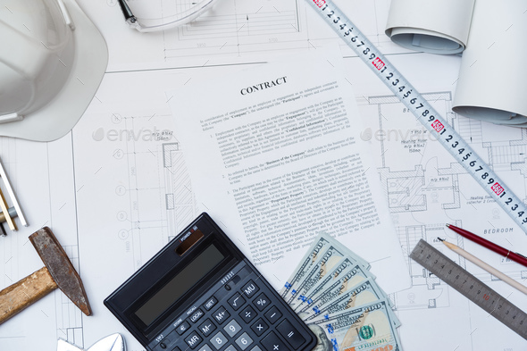Conclusion of a business contract for construction. Hiring an engineer - Stock Photo - Images