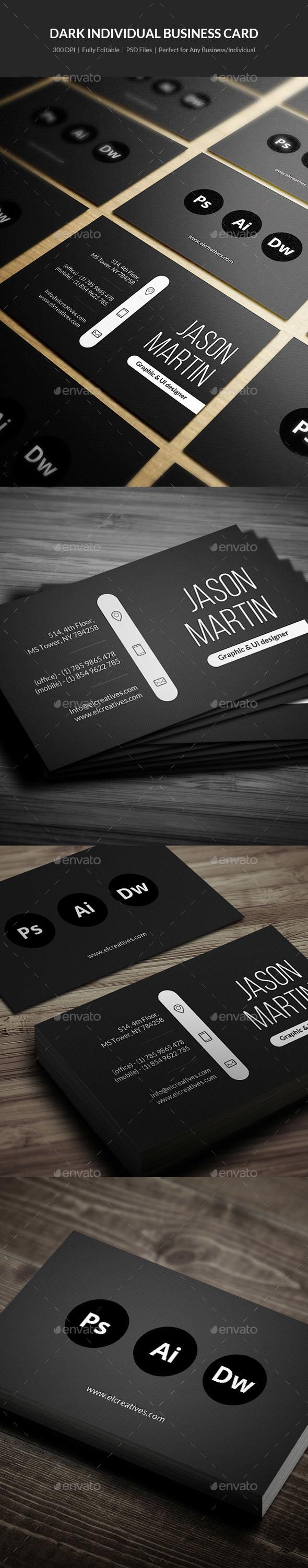 Dark Individual Business Card - 05 - Creative Business Cards