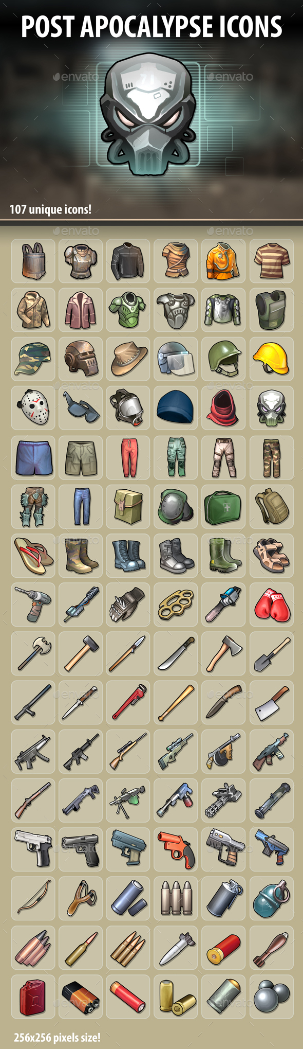 Post Apocalypse Icons - Miscellaneous Game Assets