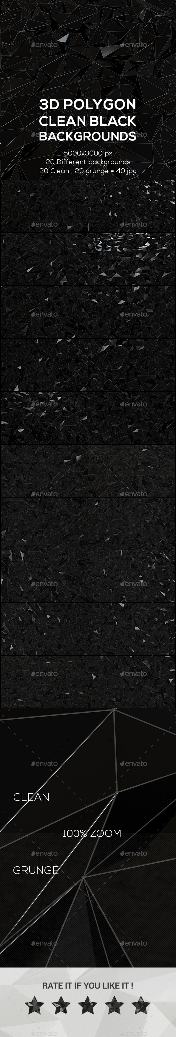 3D Polygon Clean Black Backgrounds - Abstract Backgrounds