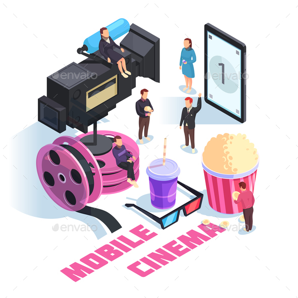 Mobile Cinema Isometric Concept - Food Objects