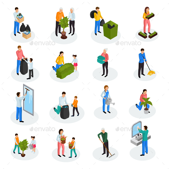 Cleaning Isometric Icons - Flowers & Plants Nature