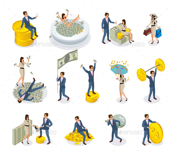 Rich People Isometric Icons - People Characters