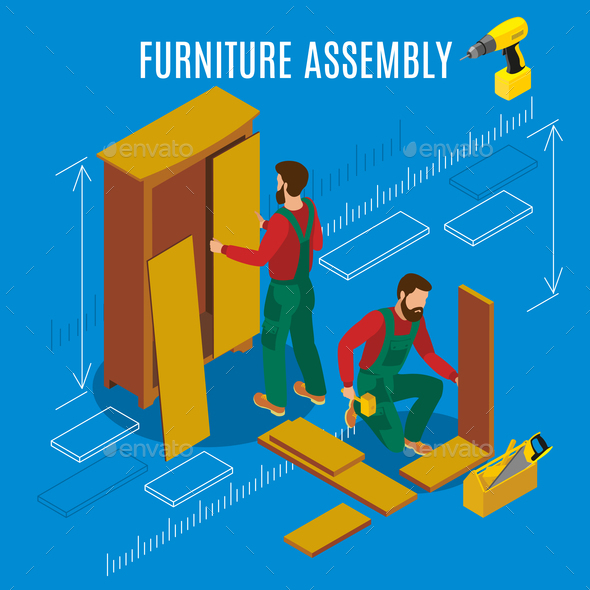 Furniture Assembly Isometric Illustration - Business Conceptual