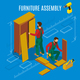 Furniture Assembly Isometric Illustration