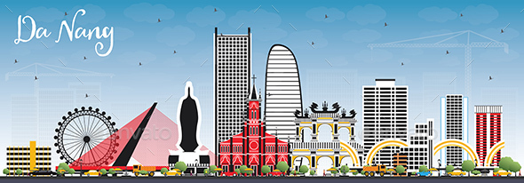 Da Nang Vietnam City Skyline with Color Buildings and Blue Sky. - Buildings Objects