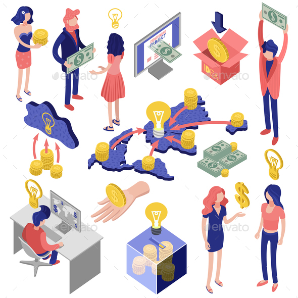 Crowd Funding Isometric Set - Business Conceptual