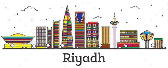 Outline Riyadh Saudi Arabia City Skyline with Color Buildings Isolated on White. - Buildings Objects