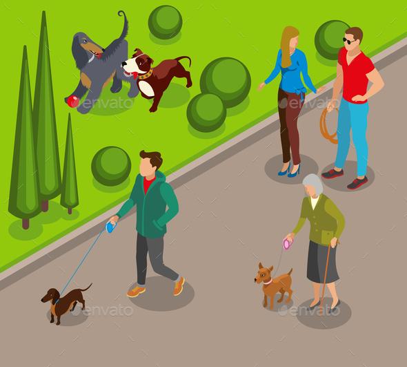 Dog Walking Isometric Illustration - Animals Characters