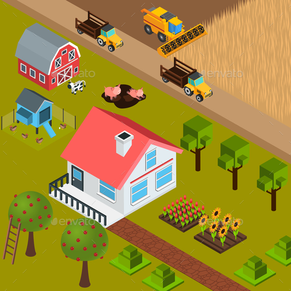 Farm Isometric Background - Animals Characters