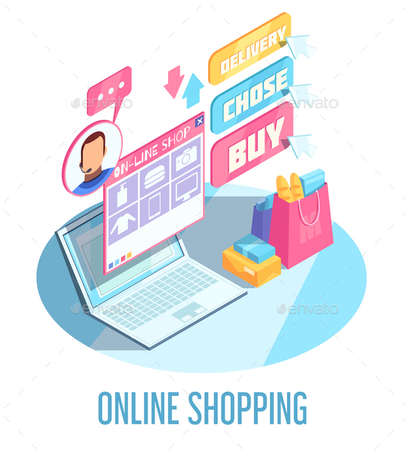 Online Shopping Isometric Composition - Business Conceptual