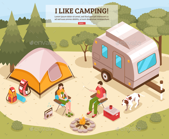 Camping Barbecue Isometric Poster - Seasons/Holidays Conceptual