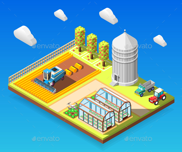 Agricultural Isometric Design Concept - Patterns Decorative