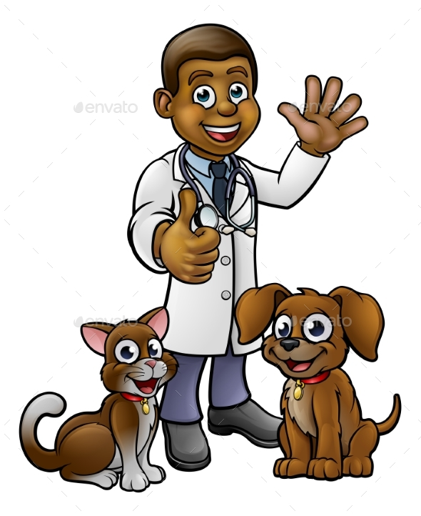 Vet with Pet Cat and Dog Cartoon Characters - Animals Characters