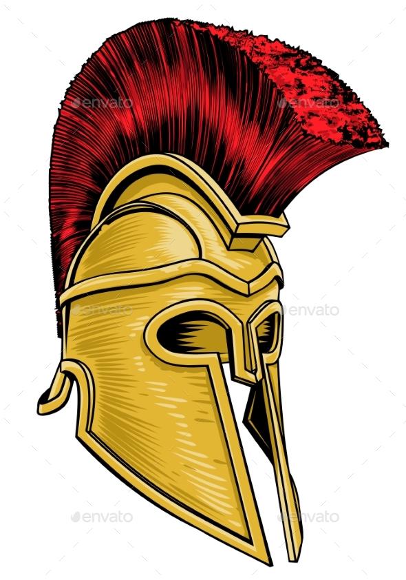 Ancient Greek Trojan Spartan Gladiator Helmet - Miscellaneous Vectors