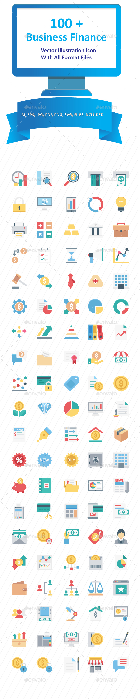 100+ Business and Finance Color Vector icon pack - Icons