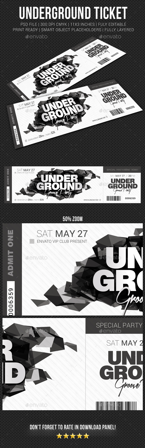 Underground Groove Party Event Ticket - Cards & Invites Print Templates