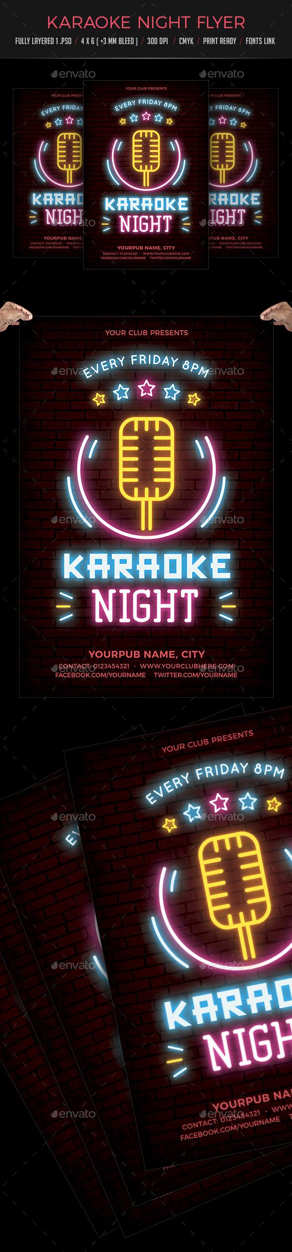 Karaoke Night Neon Flyer - Clubs & Parties Events