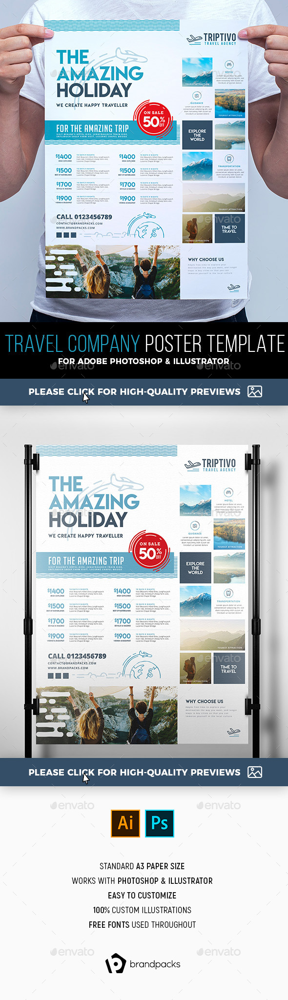 Travel Company Poster Template - Corporate Flyers