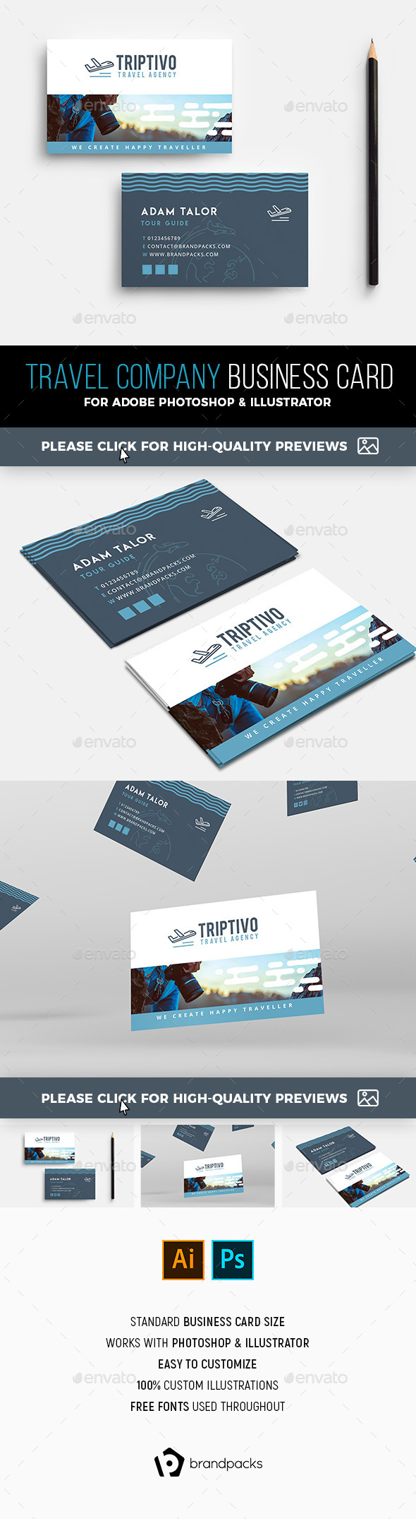 Travel Company Business Card Template by BrandPacks | GraphicRiver