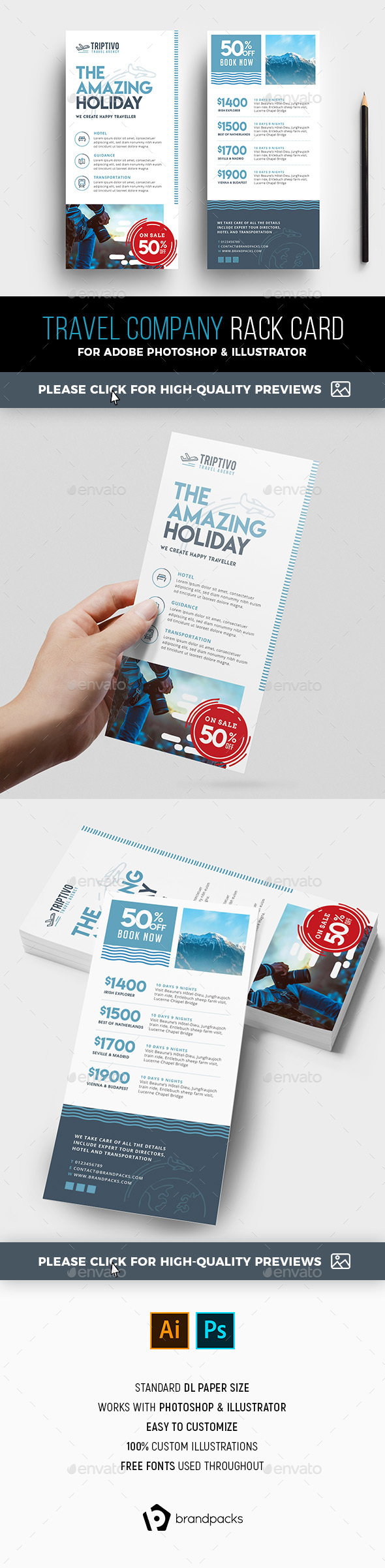 DL Travel Company Rack Card Template - Corporate Flyers