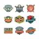 Set of Vintage Baseball Emblems - GraphicRiver Item for Sale