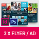 Corporate Business Universal Flyer/ad 3x Square Dark Indesign and Photoshop Template - GraphicRiver Item for Sale