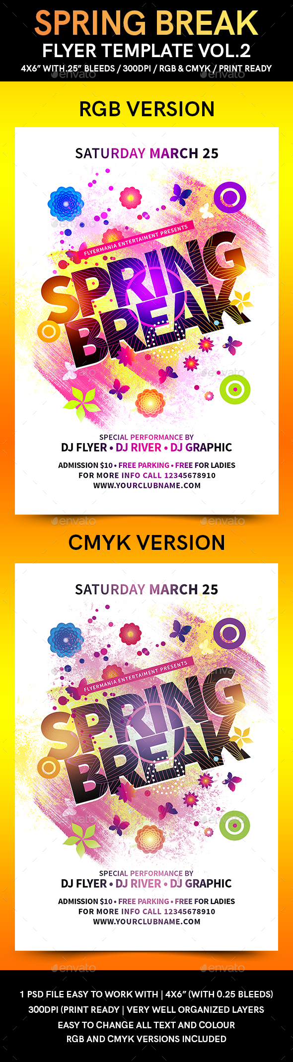 Spring Break Flyer Template Vol.2 - Flyers Print Templates
