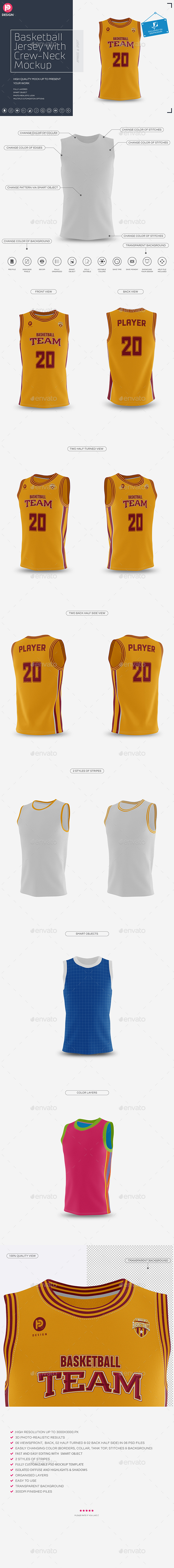 Basketball Jersey with Crew-Neck Mockup - Miscellaneous Apparel